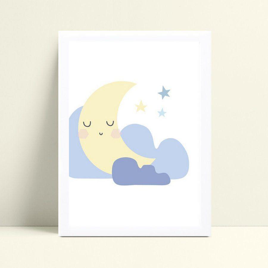 Quadro quadro decoração céu meia lua rosa nuvens azul