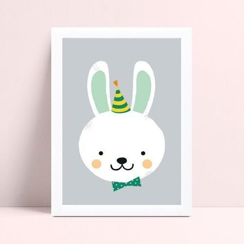 Quadro quadro decoração coelho de gravata borboleta