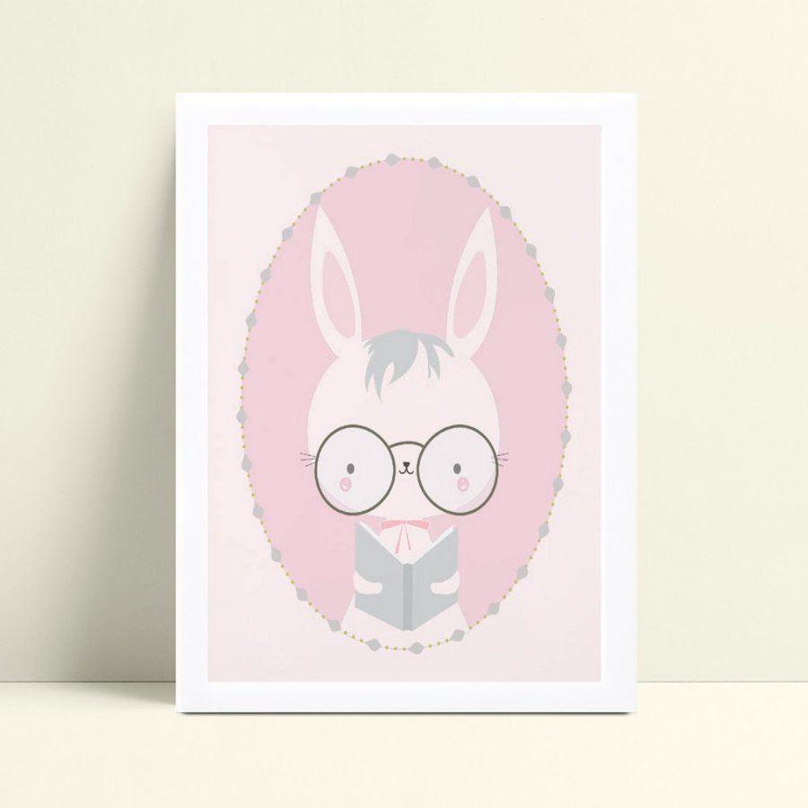 Quadro quadro decoração coelho de óculos