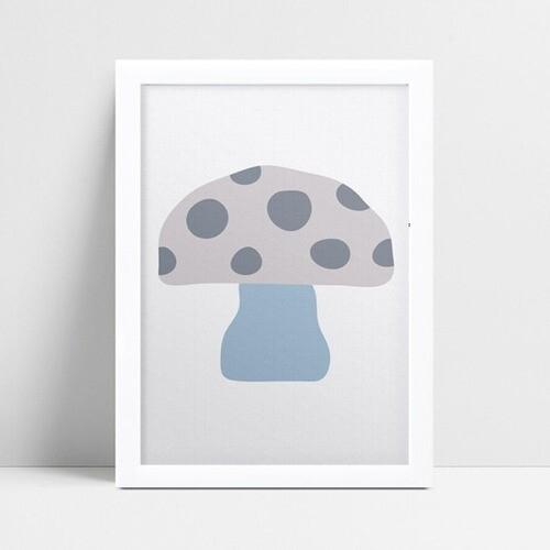 Quadro quadro decoração cogumelo azul