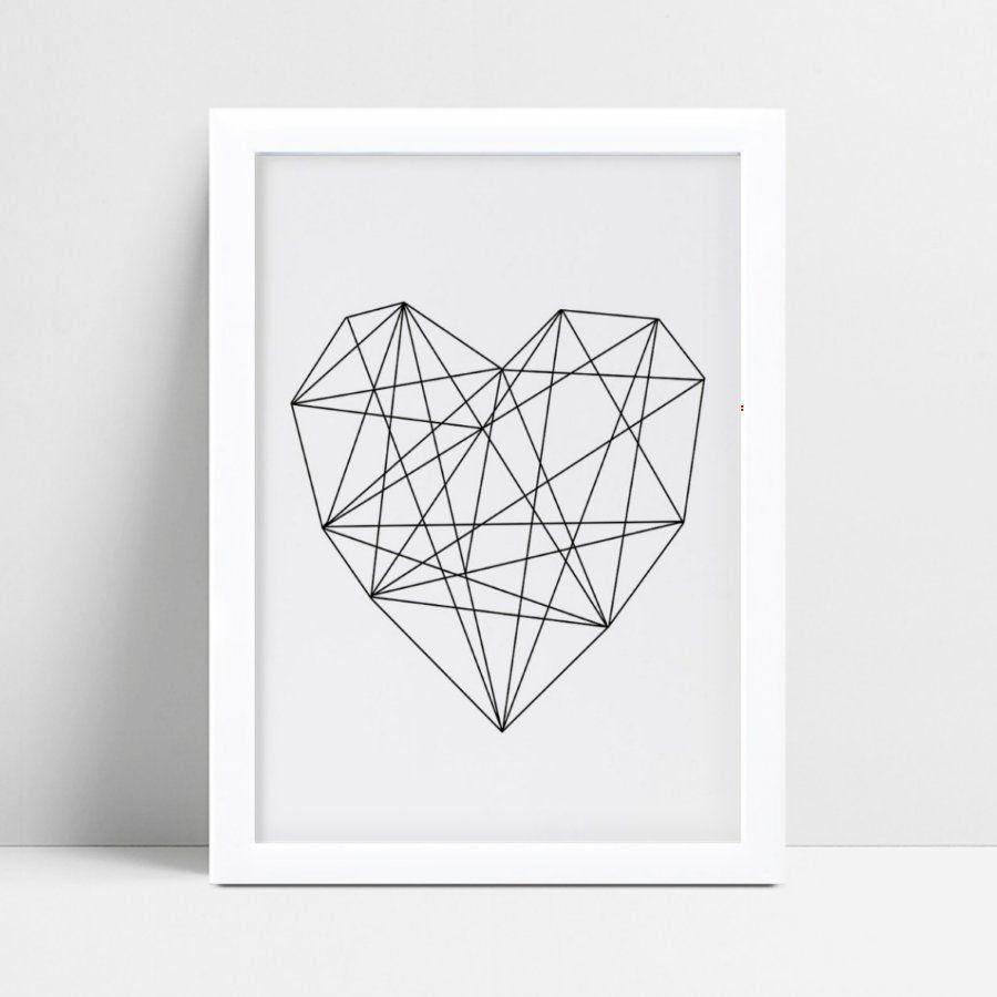 Quadro quadro decoração coração geométrico