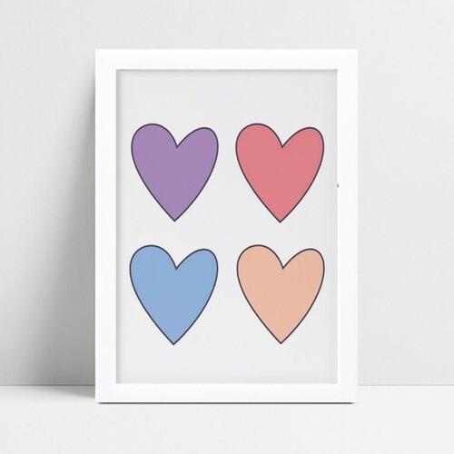 Quadro quadro decoração corações coloridos