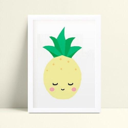 Quadro quadro decoração desenho abacaxi amarelo