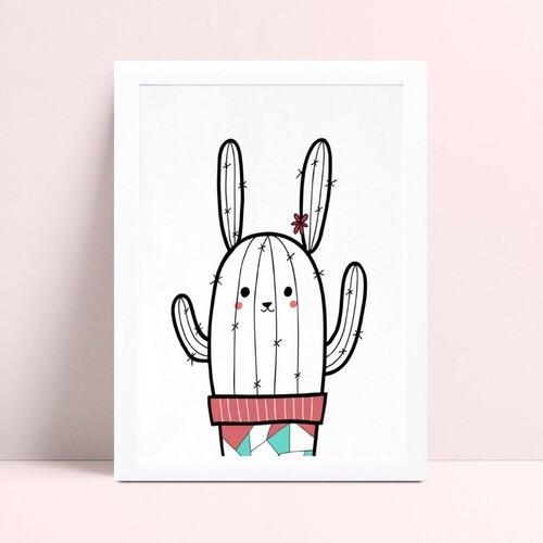 Quadro quadro decoração desenho cacto coelho