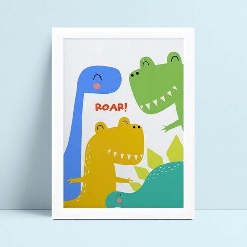 Quadro quadro decoração desenho dinossauros coloridos