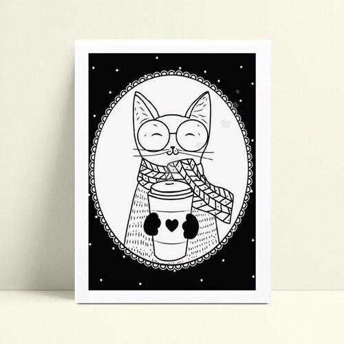Quadro quadro decoração desenho gato tomando café p&b