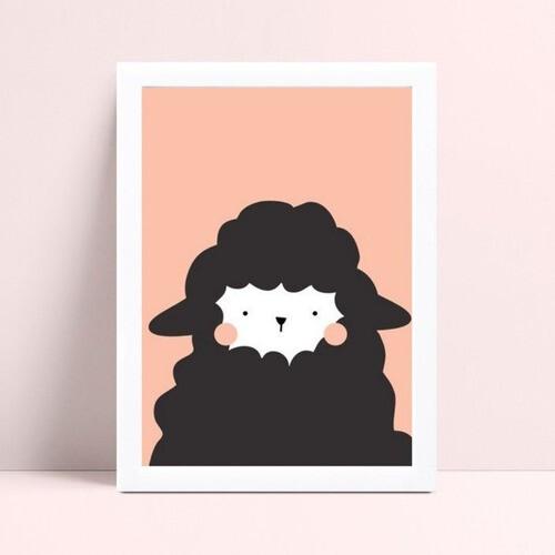 Quadro quadro decoração desenho ovelha preto e rosa