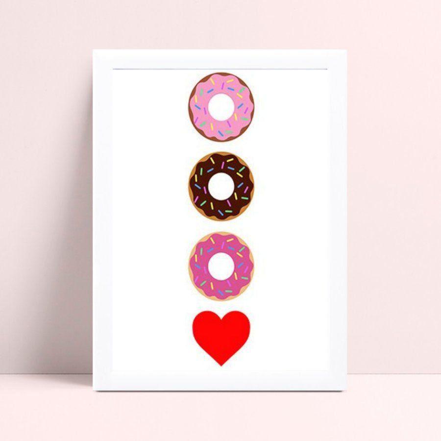 Quadro quadro decoração donuts coração