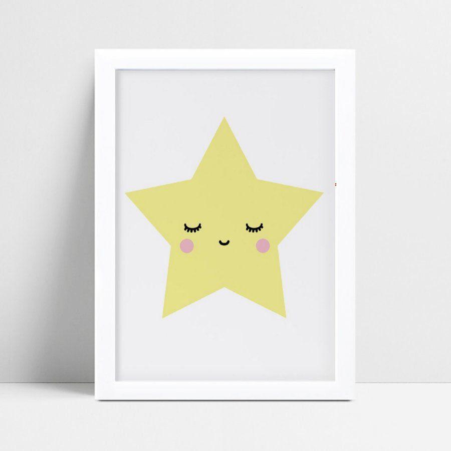 Quadro quadro decoração estrela amarelo