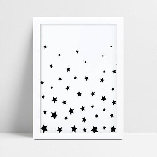 Quadro quadro decoração estrelas pretas