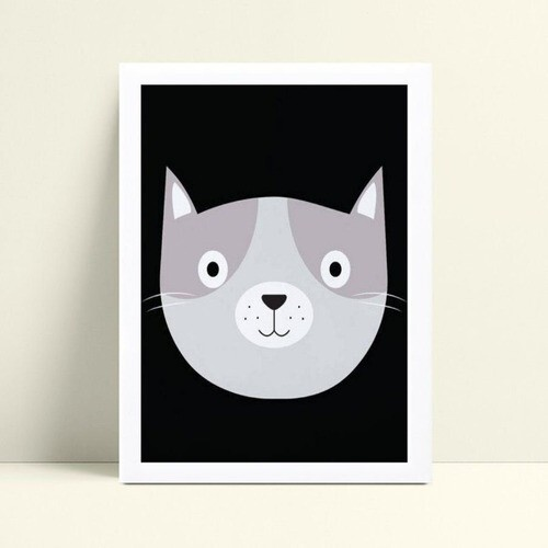 Quadro quadro decoração gato cinza
