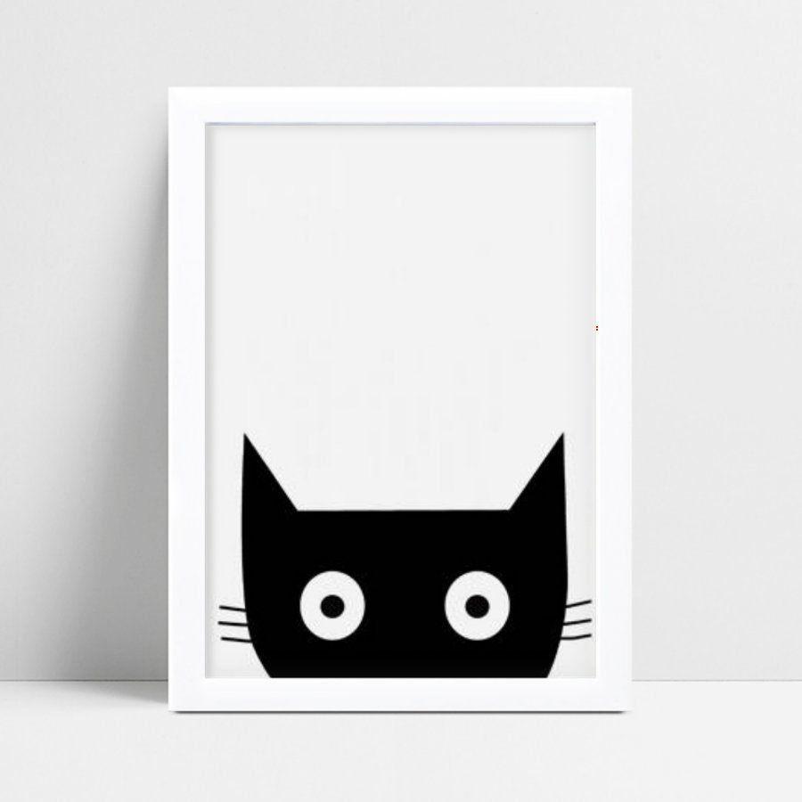 Quadro quadro decoração gato preto espiando