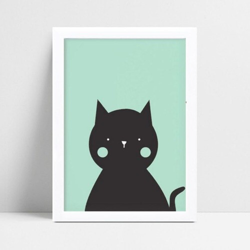 Quadro quadro decoração gato verde e preto