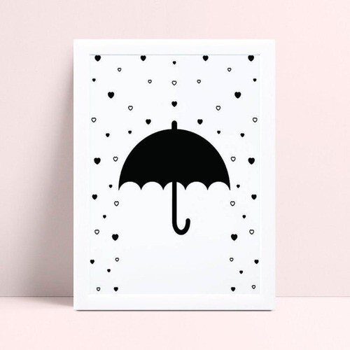 Quadro quadro decoração guarda chuva preto chuva de corações