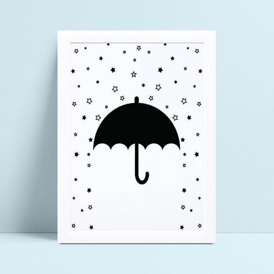 Quadro Quadro Decoração guarda chuva preto chuva de estrelas