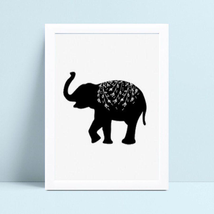 Quadro Quadro Decoração Infantil animal elefante preto