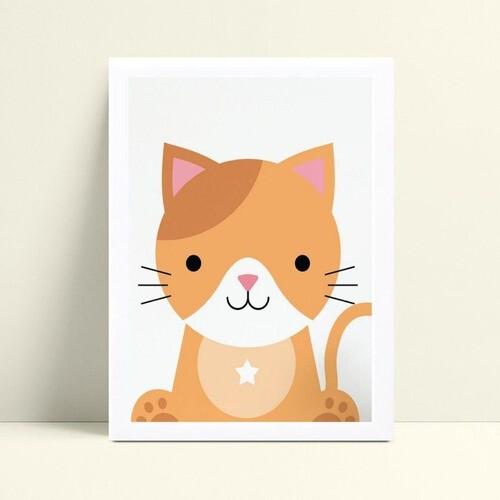 Quadro Quadro Decoração Infantil animal gato gatinho