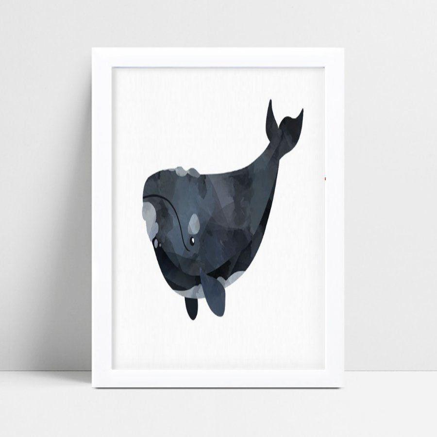 Quadro Quadro Decoração Infantil baleia aquarela cinza