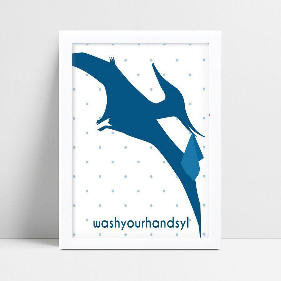 Quadro Quadro Decoração Infantil Bebê ave dinossauro azul