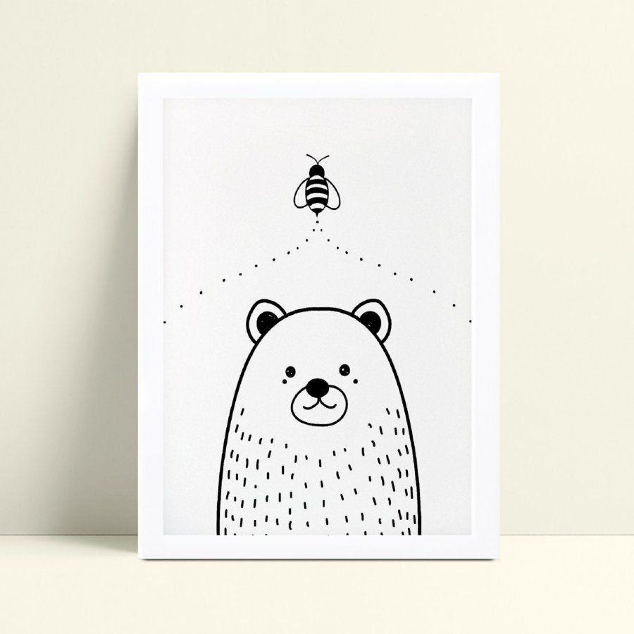 Quadro Quadro Decoração Infantil Bebe desenho urso abelha