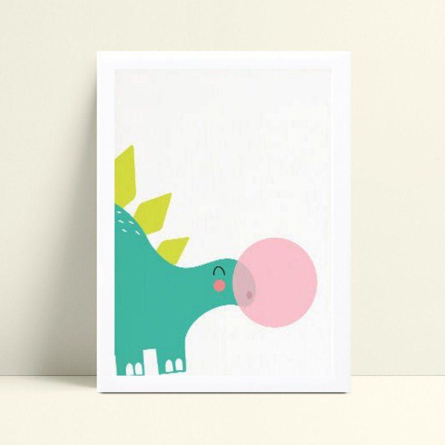 Quadro Quadro Decoração Infantil Bebe dinossauro verde