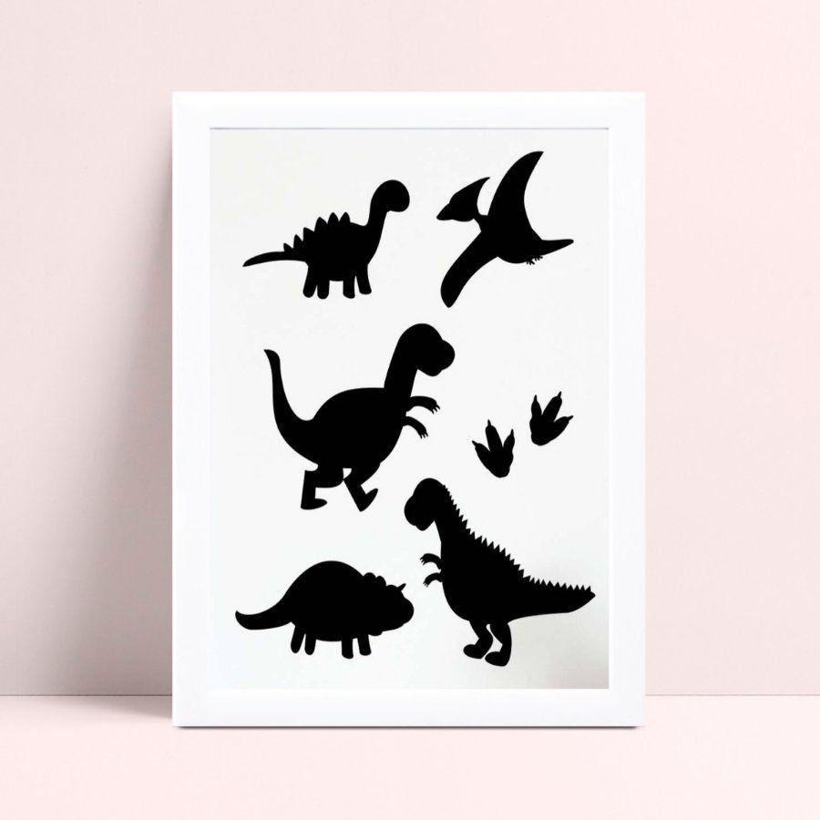 Quadro Quadro Decoração Infantil Bebe silhuetas dinossauros