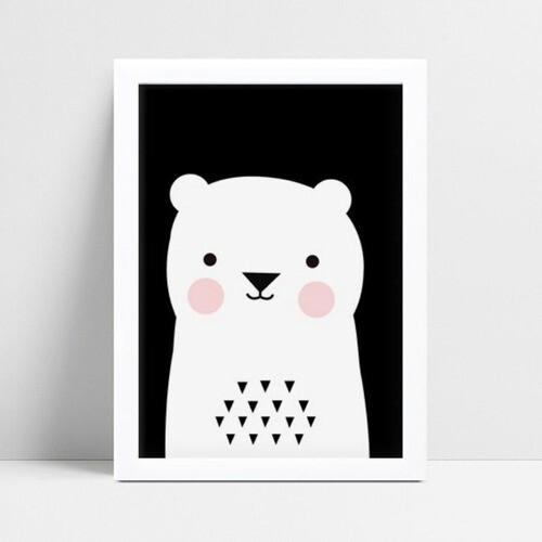 Quadro Quadro Decoração Infantil Bebê urso branco