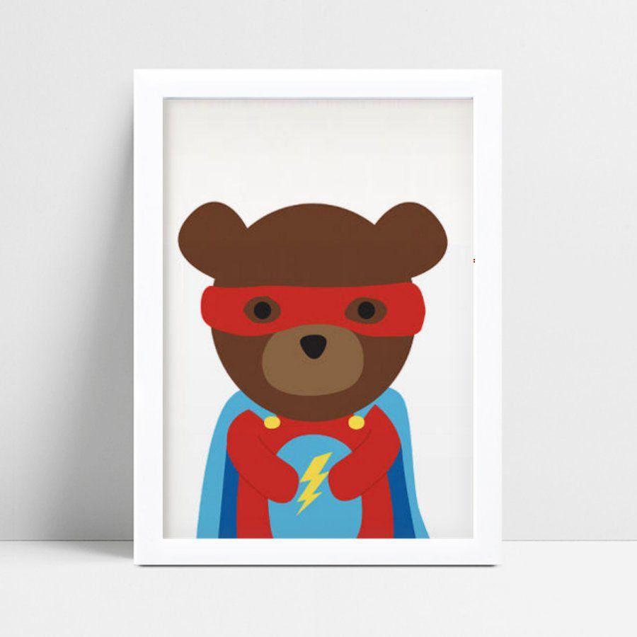 Quadro Quadro Decoração Infantil Bebe urso super herói
