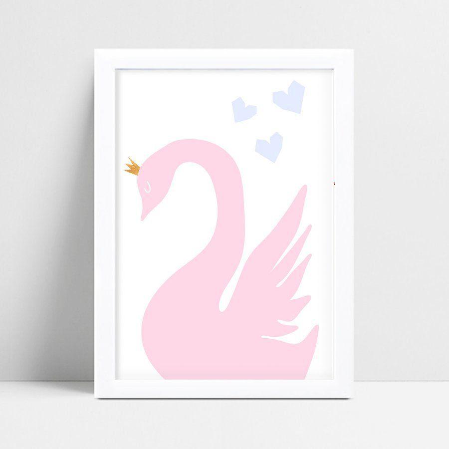 Quadro Quadro Decoração Infantil cisne rosa coroa princesa