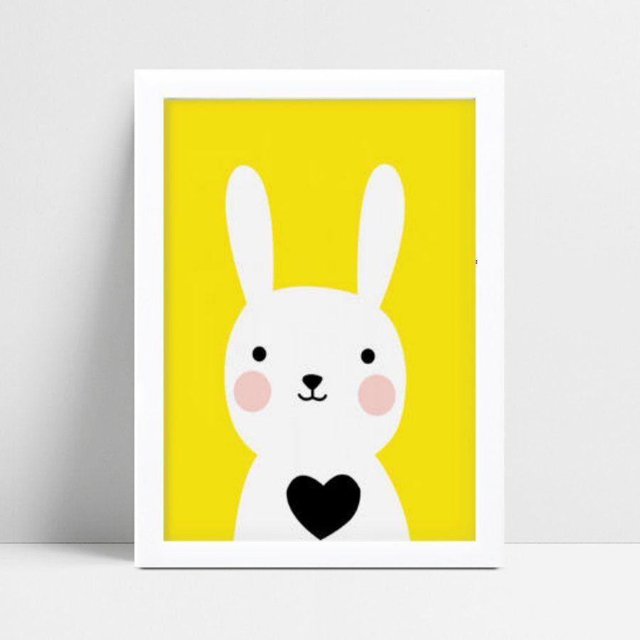 Quadro Quadro Decoração Infantil coelho branco e amarelo