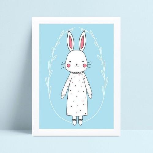 Quadro Quadro Decoração Infantil coelho de vestido