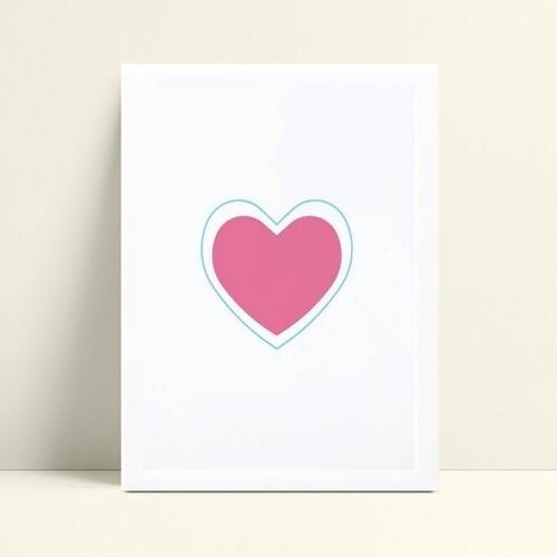 Quadro Quadro Decoração Infantil coração rosa