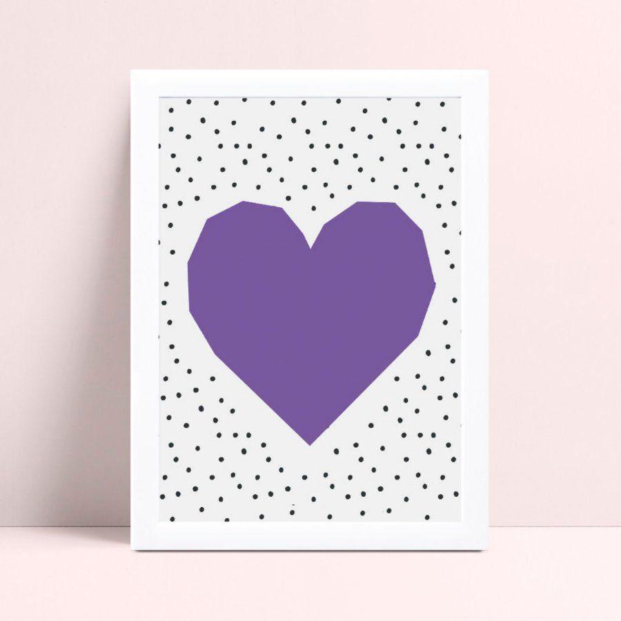 Quadro Quadro Decoração Infantil coração violeta