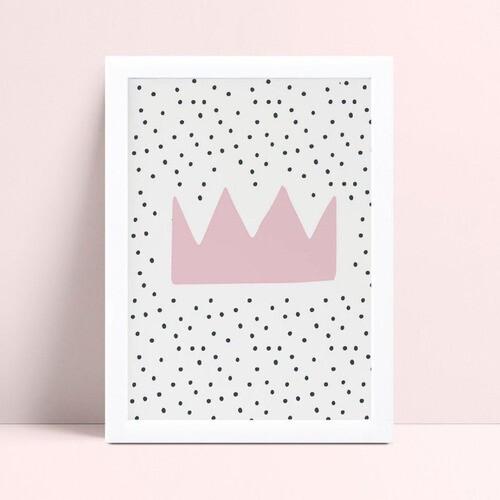 Quadro Quadro Decoração Infantil coroa rosa princesa
