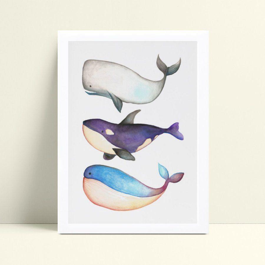 Quadro Quadro Decoração Infantil desenho baleias