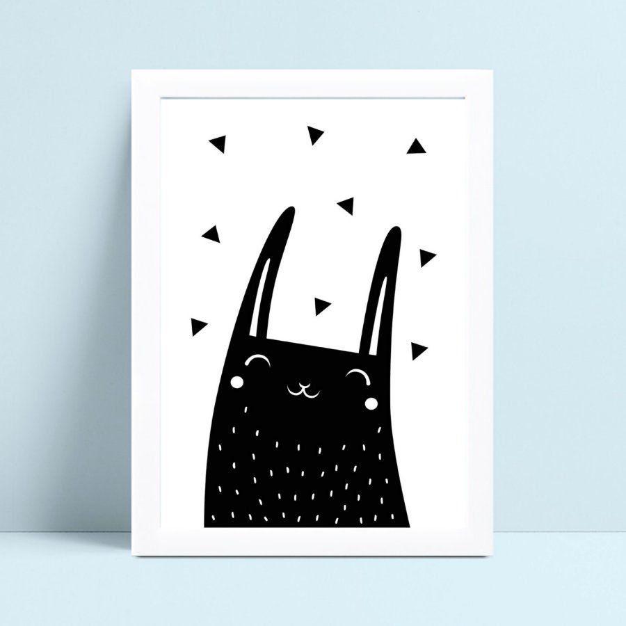 Quadro Quadro Decoração Infantil desenho coelho preto