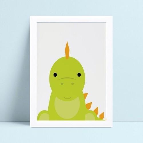 Quadro Quadro Decoração Infantil desenho dinossauro verde