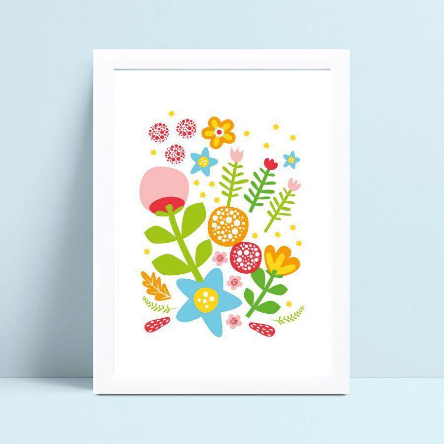 Quadro Quadro Decoração Infantil desenho flores