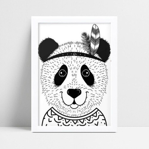 Quadro Quadro Decoração Infantil desenho panda tribal