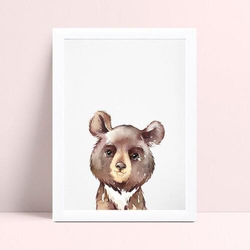 Quadro Quadro Decoração Infantil desenho urso marrom