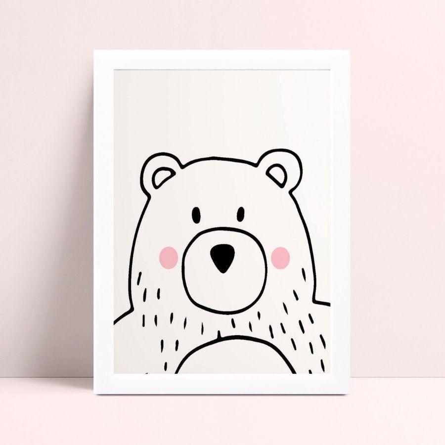Quadro Quadro Decoração Infantil desenho urso p&b