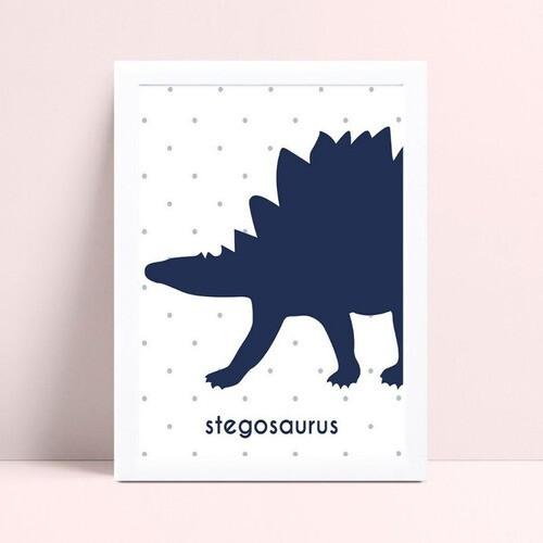 Quadro Quadro Decoração Infantil dinossauro azul escuro