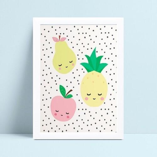 Quadro Quadro Decoração Infantil frutas coloridas