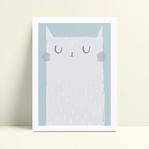 Quadro Quadro Decoração Infantil gato branco