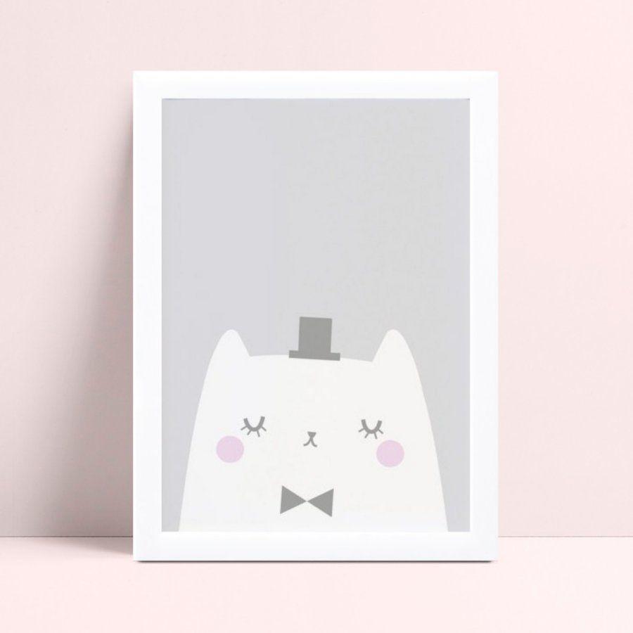 Quadro Quadro Decoração Infantil gato de chapéu