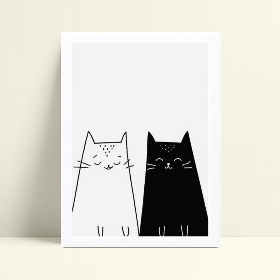 Quadro Quadro Decoração Infantil gatos p&b