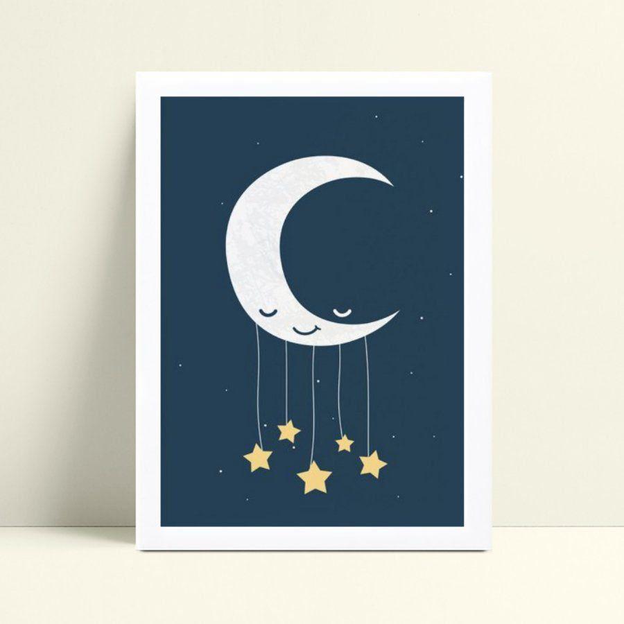 Quadro Quadro Decoração Infantil meia lua estrelas