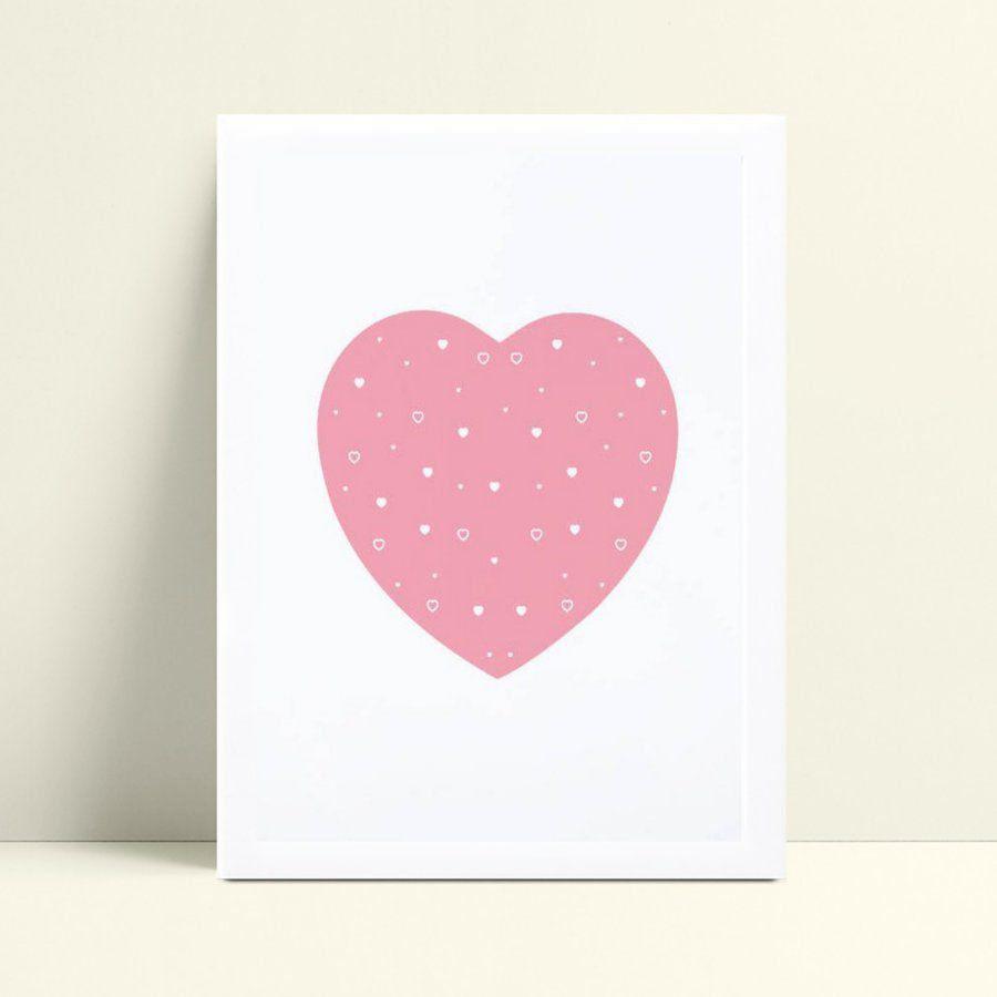 Quadro Quadro Decoração Infantil menina coração rosa