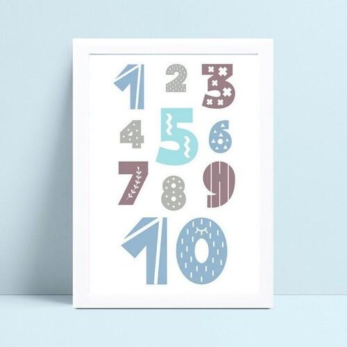 Quadro Quadro Decoração Infantil números numerais colorido