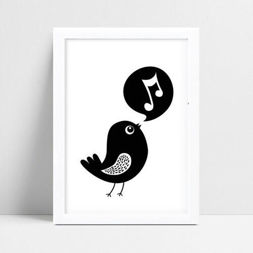 Quadro Quadro Decoração Infantil pássaro cantando p&b